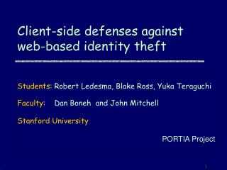 Client-side defenses against web-based identity theft
