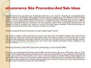 eCommerce Site Promotion And Sale Ideas