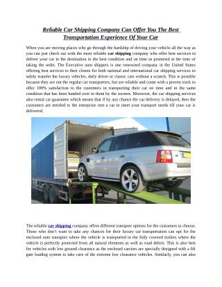 Reliable Car Shipping Company Can Offer You The Best Transportation Experience Of Your Car