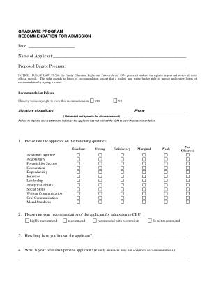 Graduate Recommendation and Application Form – CBU Online