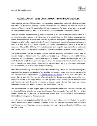 New Research Studies On Treatments For Bipolar Disorder