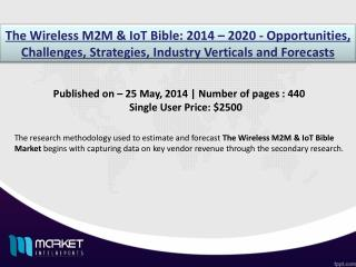 Wireless M2M & IoT Bible Market: Wireless IoT Market are the driving applications during 2014-2020.