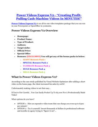 Power Videos Express V2 Review - Power Videos Express V2  100 bonus items