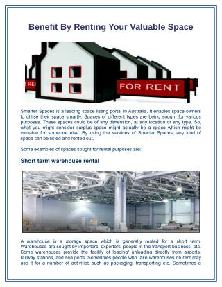Benefit by Renting Your Valuable Space