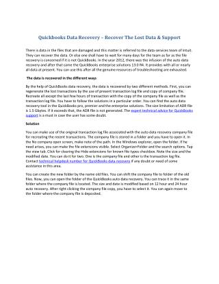 Qb data recovery � recover the lost data & support
