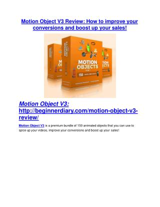 Motion Object V3 review- Motion Object V3 $27,300 bonus & discount