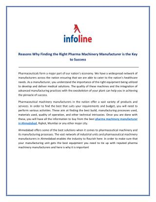 Reasons Why Finding the Right Pharma Machinery Manufacturer is the Key to Success