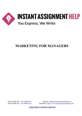 Sample Assignment on Marketing for Managers