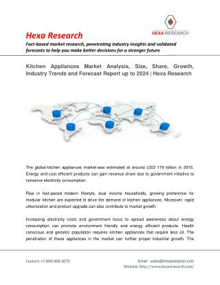 Kitchen Appliances Market Size, Share | Industry Report, 2024 | Hexa Research