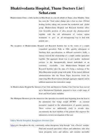 Bhaktivedanta Hospital, Thane Doctors List | Sehat.com