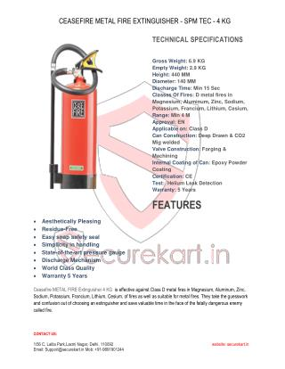 Features of Ceasefire Metal Fire Extinguisher - Spm Tec - 4 Kg Online