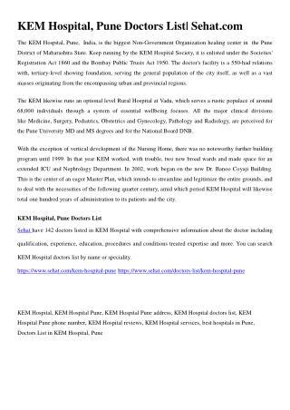 KEM Hospital, Pune Doctors List | Sehat.com