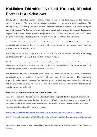 Kokilaben Dhirubhai Ambani Hospital, Mumbai Doctors List | Sehat.com