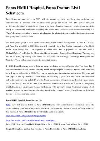 Paras HMRI Hospital, Patna Doctors List | Sehat.com