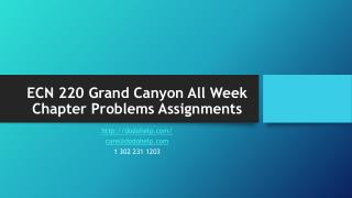ECN 220 Grand Canyon All Week Chapter Problems Assignments