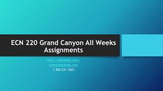 ECN 220 Grand Canyon All Weeks Assignments