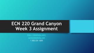 ECN 220 Grand Canyon Week 3 Assignment