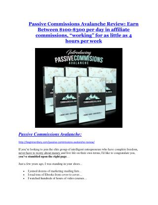 Passive Income Avalanche review & Passive Income Avalanche (Free) $26,700 bonuses