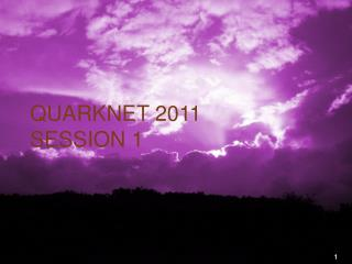 QuarkNet 2011 Session 1