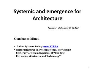 Systemic and emergence for  Architecture