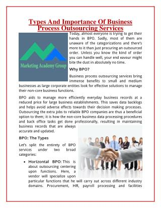 Types And Importance Of Business Process Outsourcing Services