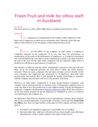 Fresh Fruit and milk for office staff in Auckland