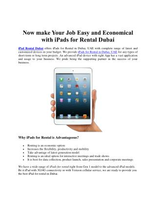 Make Your Job Easy and Economical with iPads for Rental Dubai