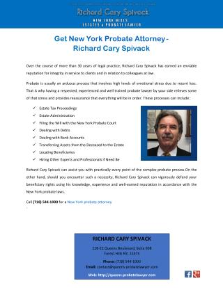 Get New York Probate Attorney - Richard Cary Spivack