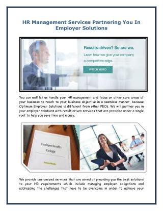HR Management Services Partnering You In Employer Solutions