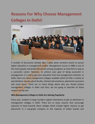 Reasons For Why Choose Management Colleges In Delhi