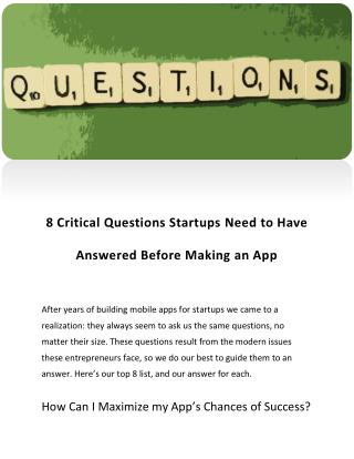 8 Critical Questions Startups Need to Have Answered Before Making an App