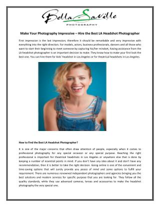 Make Your Photography Impressive – Hire the Best LA Headshot Photographer