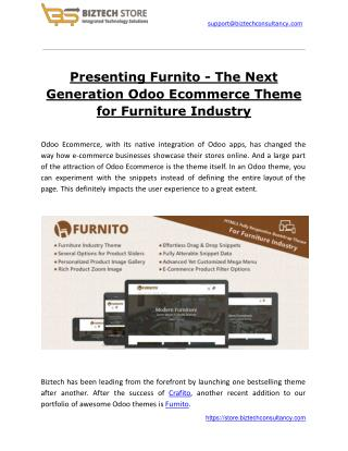 Presenting Furnito - The Next Generation Odoo Ecommerce Theme for Furniture Industry
