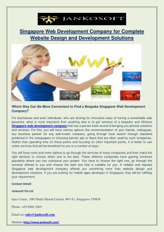 Singapore Web Development Company for Complete Website Design and Development Solutions