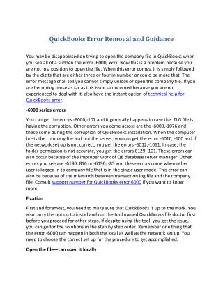 Quick books error removal and guidance