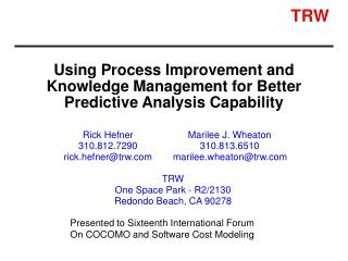 Using Process Improvement and Knowledge Management for Better Predictive Analysis Capability