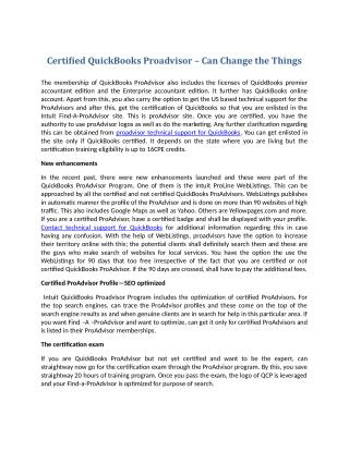 Certified QuickBooks Proadvisor – Can Change the Things