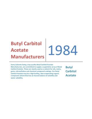 Butyl Carbitol Acetate Manufacturers