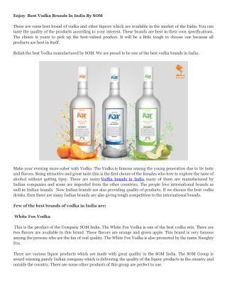 Enjoy  Best Vodka Brands In India By SOM