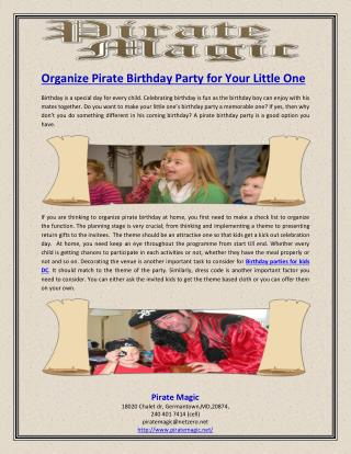 Organize Pirate Birthday Party for Your Little One