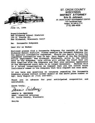 Documents Subpoena re: Thomas Woznicki (St. Croix County, Wisconsin)