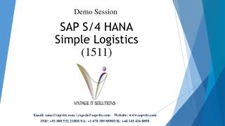 SAP S/4 HANA Simple Logistics Online Training