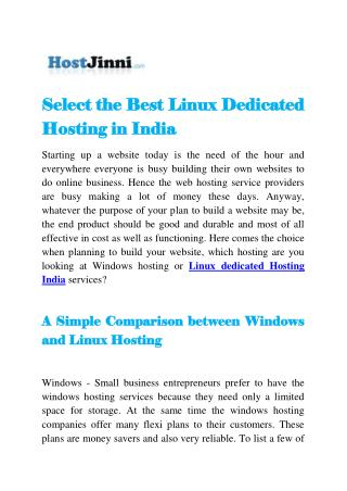 Select the Best Linux Dedicated Hosting in India
