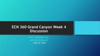 ECN 360 Grand Canyon Week 4 Discussion