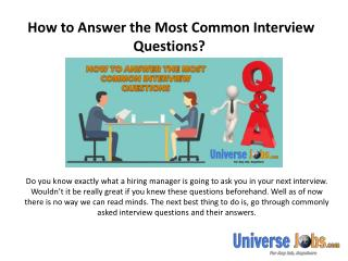 How to Answer the Most Common Interview Questions?