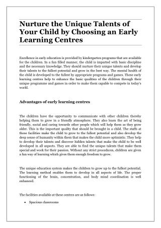 Nurture the Unique Talents of Your Child by Choosing an Early Learning Centres
