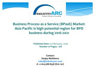 Business Process as a Service (BPaaS) Market: the US is the major investor for development