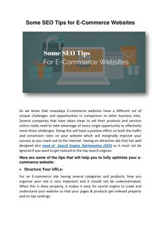 Some SEO Tips For E-Commerce Websites