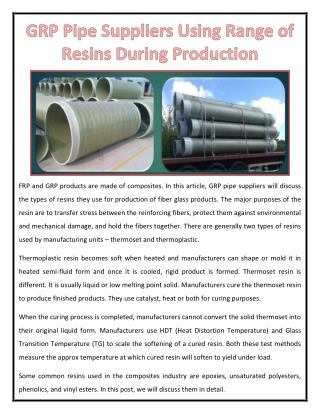 GRP Pipe Suppliers Using Range of Resins During Production