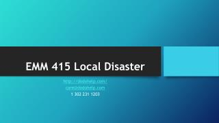 EMM 415 Local Disaster